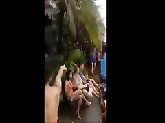 Enthusiastic Ladyboys by the pool