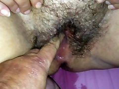 Fingering her soaking wet BBW-pussy