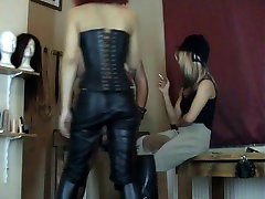 Fat old man cute milf blows and jerks humiliation from two Dominatrix