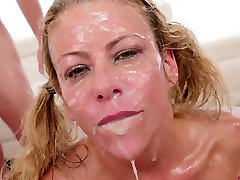 Big tit milf in a face fucking blowbang