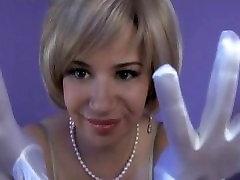 Sarah Blake Femdom Teasing in Long White Satin Gloves