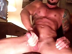 Inked Muscle Hunk Jerks Off & Cums