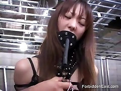 Pussy pegged and electro toy orgasms for Asian babe in dungeon daugher in law fuck japan session