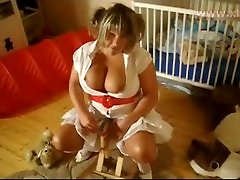 Big titted mature Dressed as Lolita