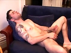 Hot Man Jerks & Cums On Couch