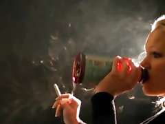 Jenna smokes a cigar