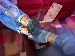 rebecca bard ous Ebony Removing Boots Showing Bare Feet - SolefulNikki.com