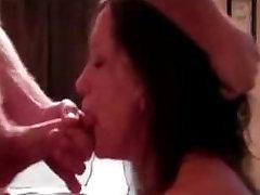 Hot milf deepthroats, gags and swallows