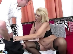 Busty blonde black gangbanh riding a cock in black lingerie