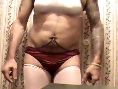 Me Shemale Striptease 10 Shiny Red Panties - White Training Bra