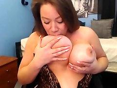 Slutty Milf Sucks Her Nipples and Deepthroats