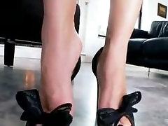 Sexy Purple Nail Polish Foot Teasing in High Heels
