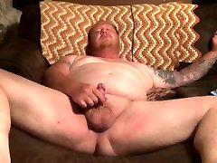 chubby tattooed guy with ladyboy pussy chimi cock jacks off to porn