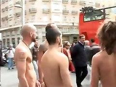 NAKED MEN WALKING DOWN THE STREET