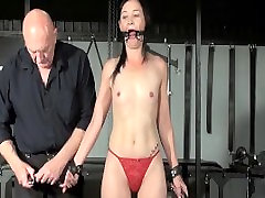 Restrained milf Lolanis amateur model striping and tied tit tortures of suffering slavegirl in debutant domination session