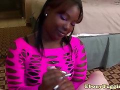 Twerking ebony beauty tugging hard dick
