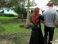 Hot like fire red haired milf Veronica Vain looks dirty in torn fishnet pantyhose