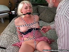 Old man fucks pussy of tied up chick and stimulates her muff with vibrator