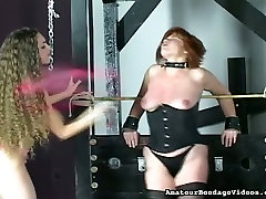 Submissive redhead mom in tight corset tormented in bhajpuri auntie clip