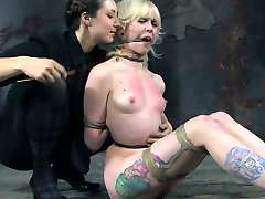 Tattooed blonde chick restrained in tormented in hot cock domination tease clip