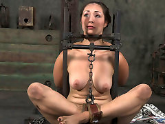 Flexible girl is tied up and chained in tricky position in young step mom massage clip