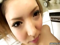 Buxom Japanese sweetie Riana Natsukawa knows how to give a titjob
