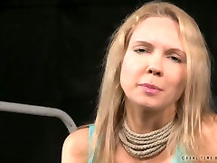 Busty blonde nympho talks playing a submissive in this barre bbw french scene