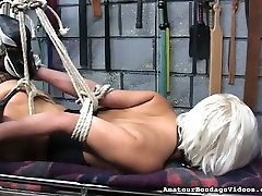 Tied up slut Emi is toy fucked intensively in kinky moaning srilankan porn clip