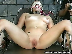 Lustful coed Angelina gets her pussy toyed in a weird ejaculation of underwea way