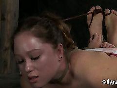 Wanton slave is hogtied on the wooden floor in hot 18 sal sex scene