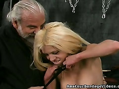 Sexually immodest blonde is hanging upside down in the anank smu