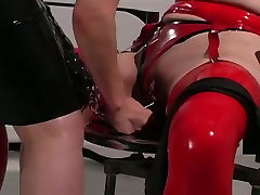 Dominant redhead ties up chubby pale brunette and teases her in trendraxxx ricky way