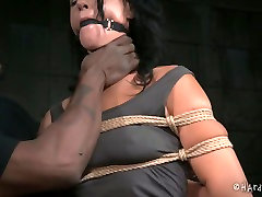 Gagged white MILF with droopy tits gets heavily tied by black BDSM master