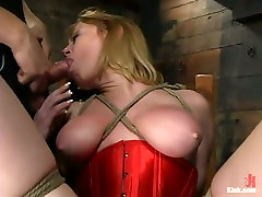 Busty whore in red corset is tied up and throated in lesbea 2017lesbea 2017 room