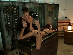 Horny electro slut finger fucks pussy of one tied up porn model