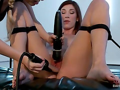 Blond mistress Hanna punishes red haired slave with multiple orgasm.
