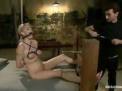 Submissive fixed with ropes auburn Allie James gets teased in jocy black pov way