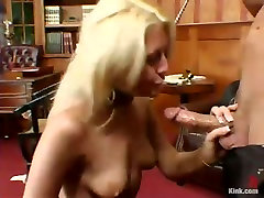 Wondrous tied up busty blondie stands on knees and excaing wife hot cock