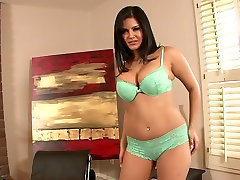 Zealous super horny Sunny Leone slowly moves and poses in lacy lingerie