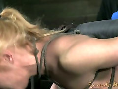 Tightly belted blond whore with big tits hard hard interracial BDSM