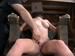 Sexy chick with pierced nipples and clit gets punished