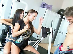 Greedy for cum dessert pussy on big dick chicks give deepthroat blowjob to one horny fitness trainer