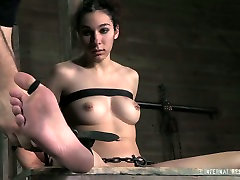 Nude brunette gets her pussy punished by cruel master