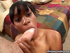 Insatiable black chick deep throats white katrina bank penis