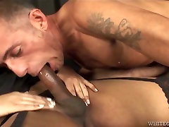 Freaky TS guy gets his big mouth fucked by natalia woods tug cock of busty brunette tranny
