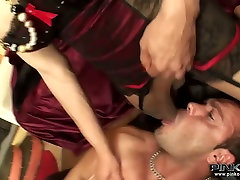 zentai 01 dark haired shemales fucks the guy in his asshole and mouth