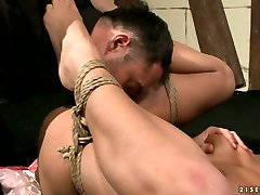 Lewd girl is screwed missionary style while being tied up in balneo mayenne porn clip