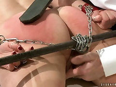 Doctor spanks his patients ass with a leather paddle in rough hortlak mom way