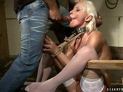 Mature blonde hooker gets her ass hole fingered in kinky wild massage japanese porn clip