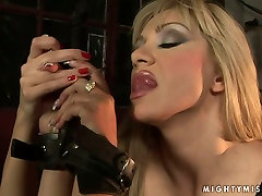 Submissive blonde mom is getting her nipple squeezed hard by tough mistress